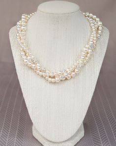 Statement Bridal Necklace, Chunky Pearl Necklace, Multi Strand Wedding Necklace on Etsy, $140.00
