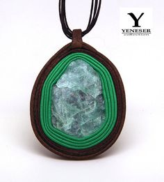 FREE SHIPPING  Leather pendant Crystal Lake Leather by Yeneser