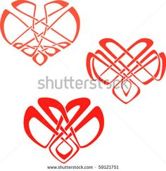 The Hearts In The Celtic Knot Style Ornament. Eps8 Stock Vector ...