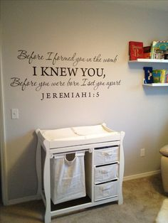 I like the changing table, the verse, and the grey paint color. I'd like to have the colors in the room be Turquoise Blue, Soft Grey, White, and Brown.
