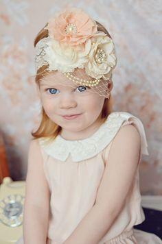 Ivory Vintage Headband Birdcage veil Lace hairband ivory bow Couture head piece baby headband, girl infant women toddler cream