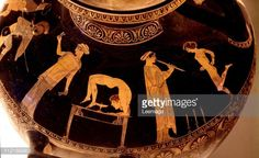 Greek Art. Girls Dancing and Tumbling. Detail of a red-figure hydria. 5th century BC. Museo Archeologico Nazionale, Naples, Italy