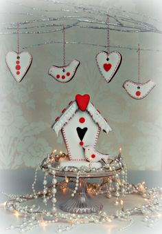 - A craft style gingerbread bird house with matching tree cookies.