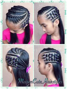Elastics & Cornrows with Dutch Lace Braid🎀 Black Baby Hairstyles, Kids Braided Hairstyles, Easy Hairstyles For Long Hair, Teen Hairstyles, Little Girl Hairstyles, Summer Hairstyles, Pretty Hairstyles, Mixed Curly Hair, Girl Hair Dos