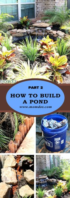 Learn how to build a pond in your garden or backyard, easy step by step tutorial with pictures on DIY pond with waterfall Backyard Water Feature, Ponds Backyard, Garden Ponds, Koi Ponds, Garden Fountains, Outdoor Fountains, Garden Water, Water Fountains, Backyard Waterfalls