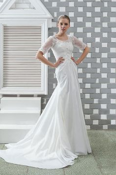 d200e415f9f Terrific Trumpet Mermaid Half-Sleeve Chapel Lace Embellishing Plus Size  Anitas Wedding Dress