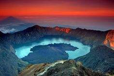 Mount (Gunung) Rinjani - This active volcano is found on the island of Lombok, Indonesia. Administratively, the mountain is in the Regency of North Lombok, West Nusa Tenggara