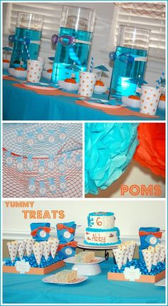 The vases w blue water and goggles is such a cute accent on the table. Kids pool party ideas