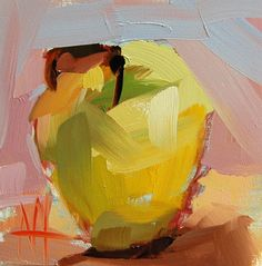 Golden Apple original still life oil painting by Angela Moulton 4 x 4 inch on panel pre-order by prattcreekart on Etsy