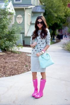 Polka dots and stripes! Sweater: J.Crew | Skirt: Forever 21 | Boots: Hunter | Bag: Tory Burch | Sunnies: Prada | Watch: Michael Kors | Bracelets: Kate Spade, J.Crew, Stella and Dot, poshlocket | Lips: YSL Sheer Candy #9