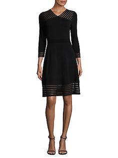 Calvin Klein Sheer Detail Fit-&-flare Dress In Black Dresses For Work, Formal Dresses, Trina Turk, Lord & Taylor, Fit Flare Dress, Calvin Klein, Fitness, Model, How To Wear