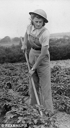 Land Girl from Girls Training Coprs. (G.T.C.) farming in Southern England.
