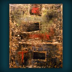 Gold red thick paint textured metallic gold abstract painting 11 x 14