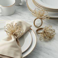 This handcrafted napkin ring dresses up napkins with loops of gold, silver and champagne beads. Diy Crafts For Adults, Diy Crafts To Do, Beaded Napkin Rings, Beaded Bracelets, Crate And Barrel, Wedding Gift Card Box, Painted Wine Bottles, Decorated Bottles, Decoupage Tutorial