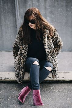 pink velvet boots leopard fur coat winter style, winter outfit