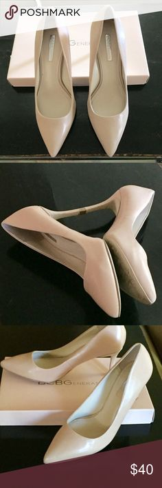 "BCBG Generation Pumps BCBG Generation Pinni Pumps, size 7M. Trendy summer 3"" heels styled from clear kid leather in versatile Warm Sand color. Very soft and comfortable. Still in original box and tissue. Excellent condition. BCBGeneration Shoes Heels"