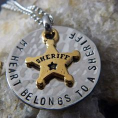 My Heart Belongs to a Sheriff Handstamped Necklace by WireNWhimsy, $35.00