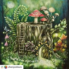 What can I say a work of art I don't have doubts . I loved @cherrycolours:This is one of the longest pending wip and I still have plenty more..#enchantedforestcoloringbook #johannabasford #prismacolor #triplusfineliner Mark #arte_e_colorir to appear in our Group ➡️ @arte_e_colorir