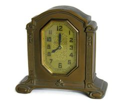 Vintage Art Deco Clock with Beveled Glass, Scroll Feet