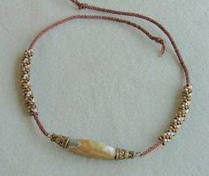 Brown beaded kumihimo casual necklace