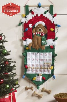 This 13x27 wall hanging advent calendar, the puppy Dog Advent Calendar is perfect for your pooch or as a gift to be given to the dog lover in your life. This Advent Calendar from Bucilla is not short on cute details. Starting with the pockets, consider stuffing 25 of your dogs favorite
