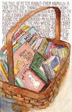 """bibliolectors: """" Basket stories / Cesta de cuentos (ilustración de Leslie Fehling) """""""