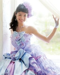 Wedding Dress Fantasy - Lavender Wedding Dress- This fabulous Lavender wedding dress is made with Satin and Chiffon. There are delicate hints of blue and pink within. This gown is fully customizable.