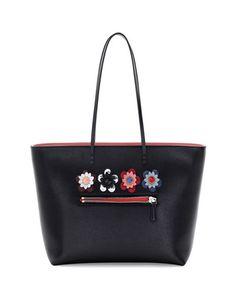V2XER Fendi Roll Medium Flower-Embellished Leather Tote Bag, Black
