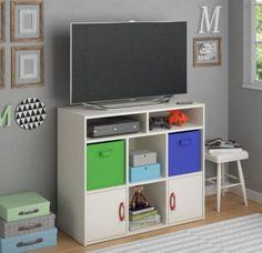 Modern Media Storage Unit With Fabric Bins Home Furniture White Stipple Finish