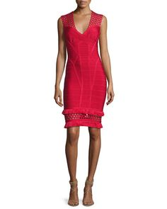 B3RU1 Herve Leger V-Neck Cutout Fringe-Trim Bandage Dress, Red