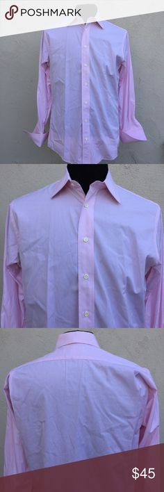 Men's Burberrys Pink Button Down Shirt 15 1/2-33 You're purchasing a Men's Burberrys of London Pink Striped Button Down French Cuff Shirt 15 1/2-33. 80s 2-Ply 100% Cotton Imported Fabric. Gently used in almost new condition. See pics for measurements. Burberry Shirts Dress Shirts
