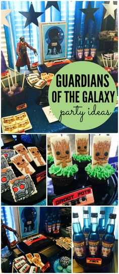 Check out this Guardians of the Galaxy party with a cool mix tape cake! See more party ideas at CatchMyParty.com!