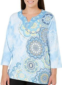 2065478e0a497 Alfred Dunner Plus Size Asymmetric Medallion Top 2X