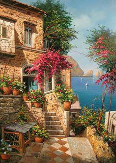 A 108 pieces jigsaw puzzle from Jigidi Wonderful Places, Beautiful Places, Beautiful Pictures, Beautiful Paintings, Beautiful Landscapes, Landscape Art, Landscape Paintings, Beautiful World, Beautiful Gardens