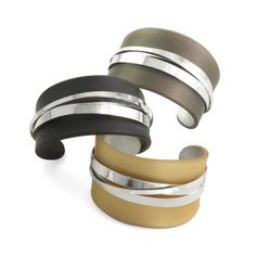 Smithsonian Craft2Wear 2015, Oct 1-3, Washington, DC Artist Debra Adelson. http://swc.si.edu/craft2wear Wrapped Cuffs: sterling silver and acrylic.