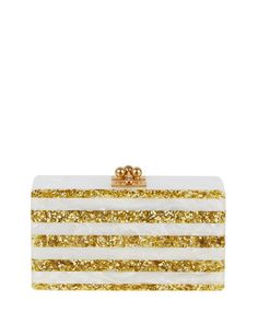 Jean Confetti-Striped Box Clutch Bag, White/Golden by Edie Parker at Neiman Marcus.