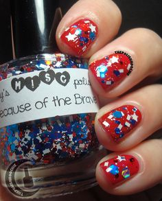 ThePolishHoochie: Nails Trelly's M.C Becasue of the Brave over Barielle's Danger at Red White Blue, My Nails, Brave, Polish, Color, Fashion, Moda, Vitreous Enamel, La Mode