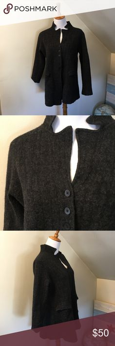 """Eileen Fisher Grey Wool Cardigan Jacket M Fabolous long wool cardigan jacket. Great condition with no holes. Wool, cotton, nylon and spandex blend. Flap pockets on the front. Six button closure. Collared jacket.   Bust 21"""" Length 26.5""""  Bundled encouraged. The more items bundled, the bigger the discount I will send privately. Eileen Fisher Sweaters Cardigans"""