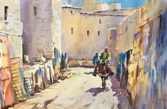 The Old Carpet Souk Morocco / Watercolour by Trevor Waugh