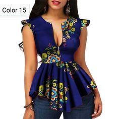 Modern Fashion Womens Tops Dashiki African Print Shirt - Women's style: Patterns of sustainability African Fashion Designers, African Dresses For Women, African Print Fashion, Africa Fashion, African Wear, African Attire, African Fashion Dresses, African Style, Fashion Outfits