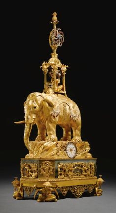 "Pachyderm Clock. Elephant with howdah clock sold for US $2,491,610 at Sotheby's Treasures, Princely Taste auction, London, July 2012. Signed by Peter Torckler, ""George III Paste-Set Ormolu Musical Automaton Clock"" made 1780. This bejewelled musical clock, believed to have been acquired by Nassir al Din Shah Qajar, the Shah of Persia, in London in the 1890s, is AKA Shah of Persia's Ormolu Elephant Automaton Clock. Click on the image to read the very interesting info about this clock at…"
