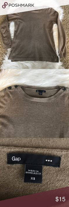 {GAP} Sweater {GAP} Sweater with button accents on shoulders. 3/4 length sleeves. Size: XS. Color: Taupe. In excellent condition. GAP Sweaters