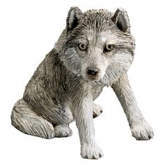 Sandicast Small Size Gray Wolf Sculpture - Sitting - SS45204