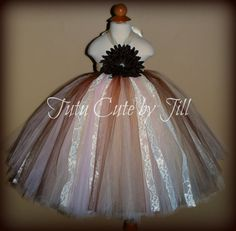 Ivory, Tan, Pale Pink & Lace Flower Girl Tutu Dress with Chocolate Brown. Tutu Cute By Jill, $50.00
