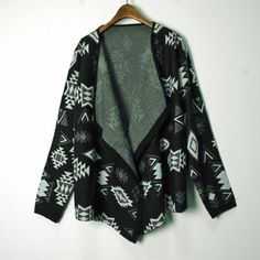 Geometric Pattern Open Women Cardigan Sweater Coat Cotton Knitwear