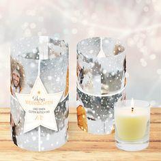 Weihnachtskarte 822 als Windlicht mit Stern für eigene Fotos Candle Holders, Candles, Photos, Xmas Cards, Sterne, Christmas, Porta Velas, Candle Sticks, Candle