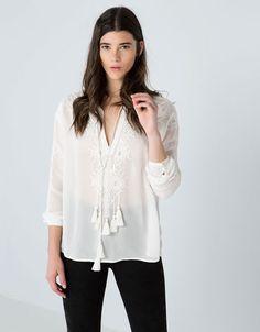 Bershka United Kingdom - Bershka ornate embroidered blouse
