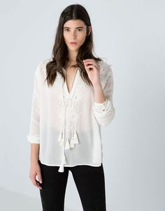 Bershka Ireland - Bershka ornate embroidered blouse. €29.99