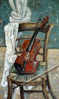 Still Life Oil Painting Original 'Violin on Chair'. Oil  on board 60 x 100. Fine Art. Art.
