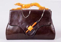 Rare Art Deco bakelite Greyhound on a leash handle purse